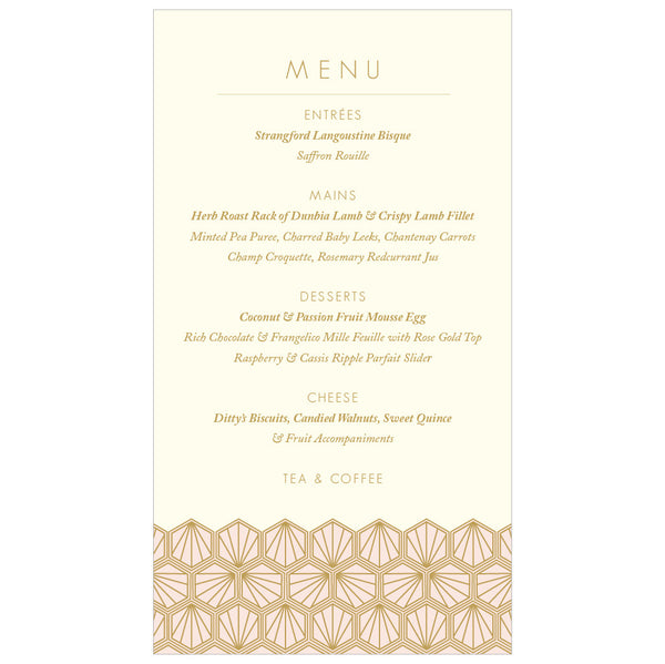 Portofino Foil Classic Menu in Gold, Rose Gold or Champagne
