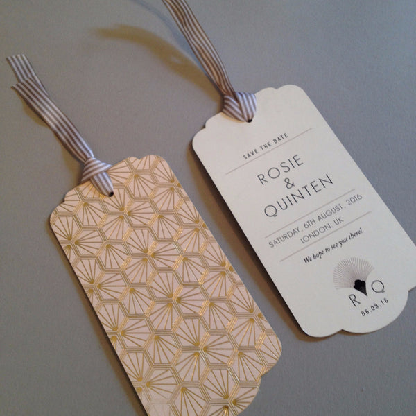 Portofino Luggage Tag Save the Date in Gold, Rose Gold & Champagne foils