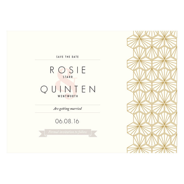 Portofino Classic Save the Date in Gold, Rose Gold & Champagne foils