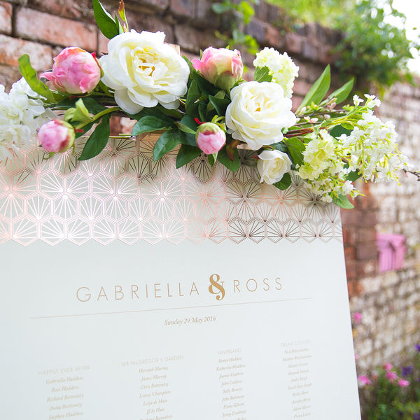Portofino Classic Table Plan in Gold, Rose Gold & Champagne foils