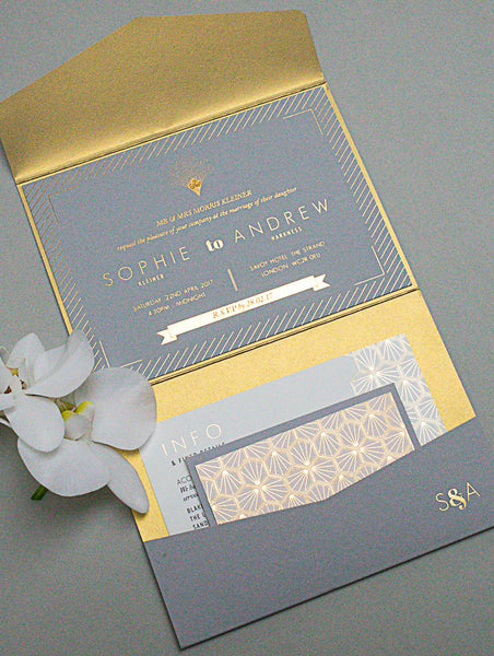 Landscape Pocketfold Envelope, with gold lining