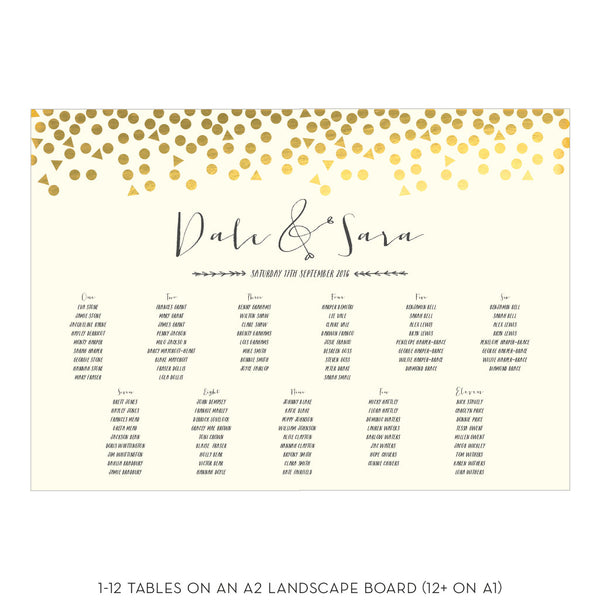 Scatter Classic Table Plan, 3 colour options