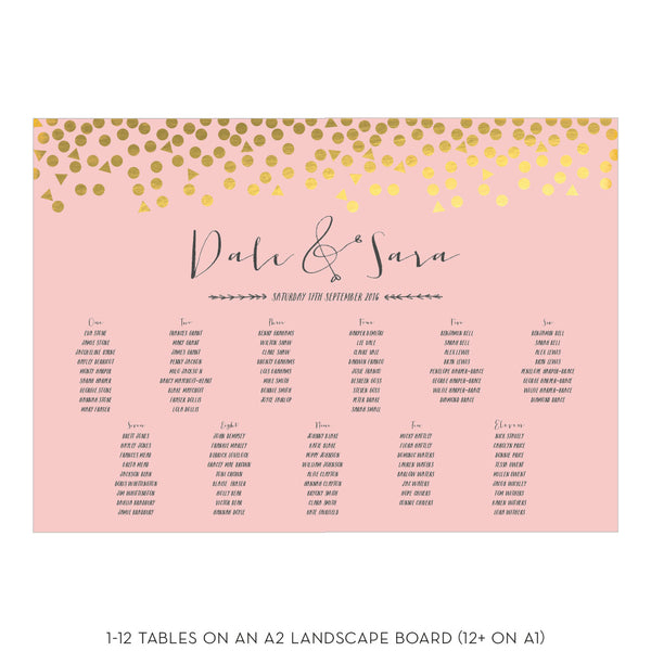 Scatter Foiled Classic Table Plan