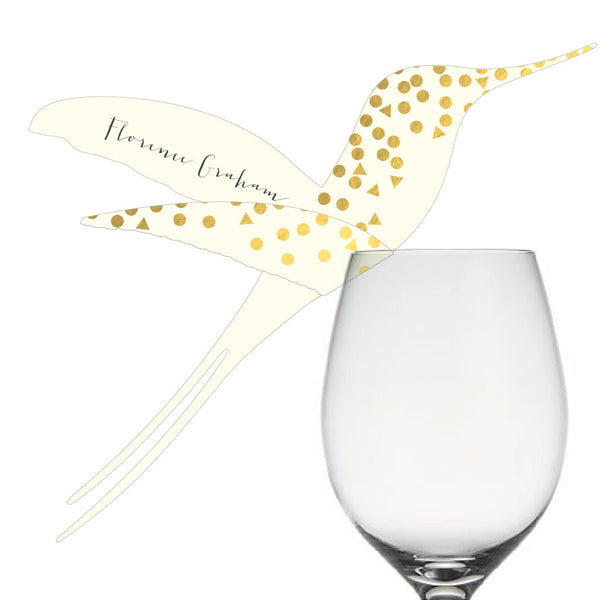 Scatter Hummingbird Wine Glass Place Cards, personalised