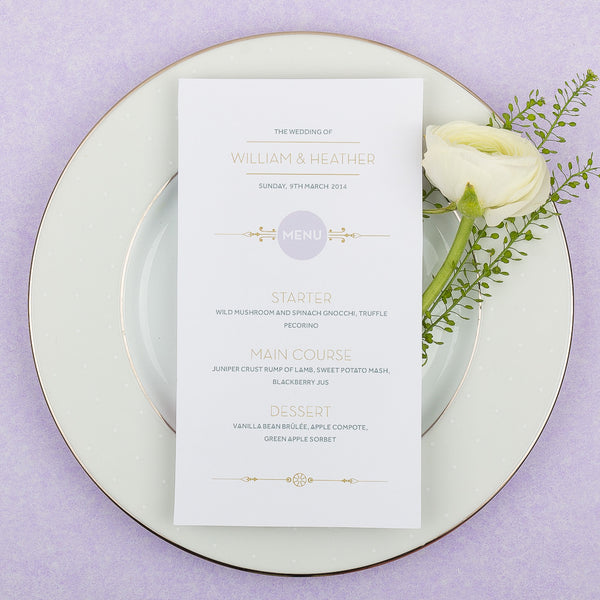 Love Lace Classic Menu, 4 colour options