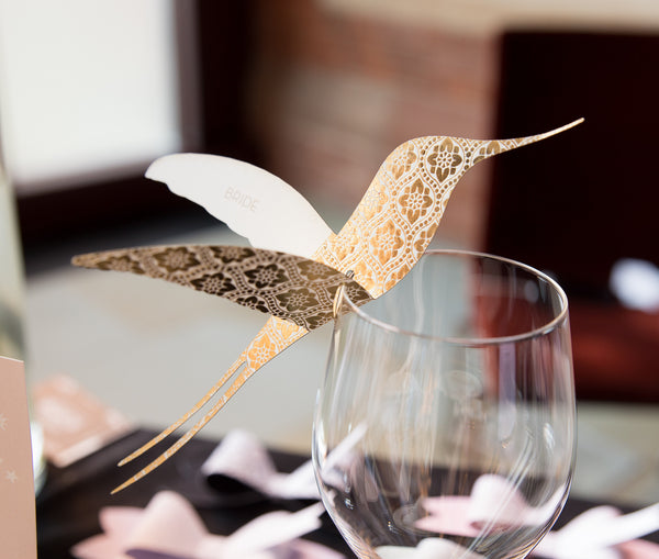 Sample - Love Lace Metallics Hummingbird Place Card in Gold/Ivory