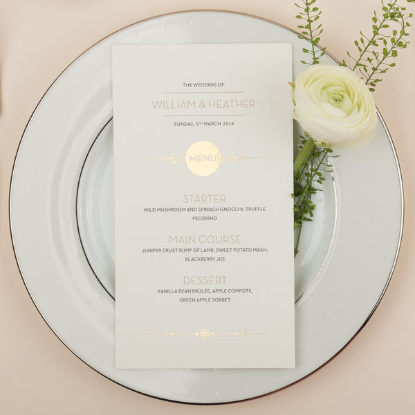Love Lace Metallics Classic Menu in Gold, Rose Gold & Silver