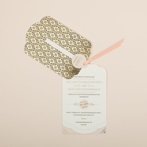 Sample - Love Lace Metallics Luxe Invitation in Gold foil on Black