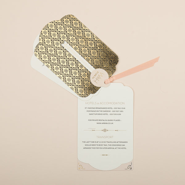 Love Lace Metallics Luxe Invitation suite in Gold foil on Black