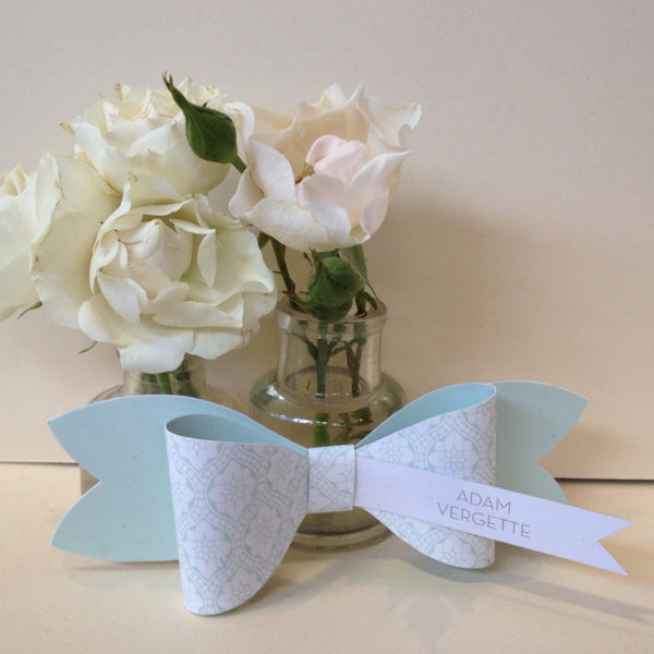 Love Lace Bow Tie Place Card, 4 colour options