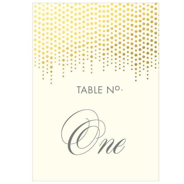 Corinthia Classic Table Numbers in Gold, Silver & Lilac foils