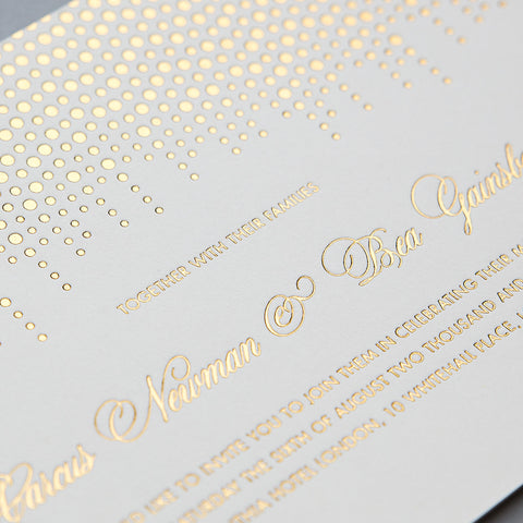 Corinthia Letterpress Invitation, Gold foil on Ivory