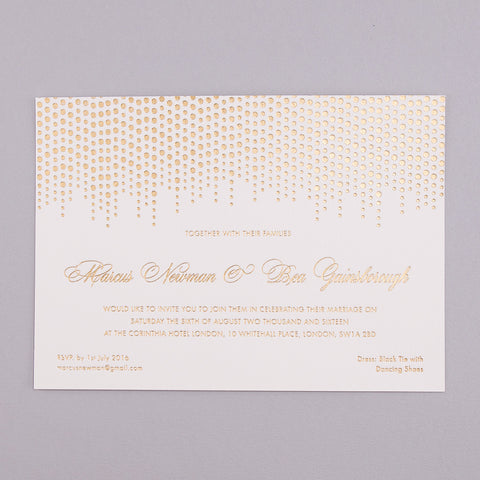 Sample - Corinthia Letterpress Invitation, Gold foil on Ivory