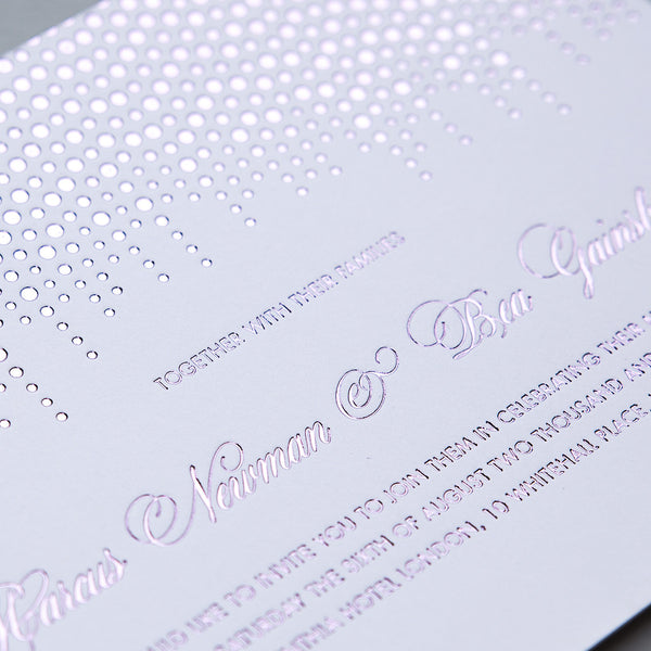 Corinthia Letterpress Invitation, Lilac foil on White
