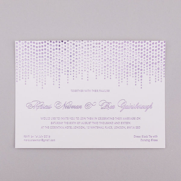 Sample - Corinthia Letterpress Invitation, Lilac foil on White