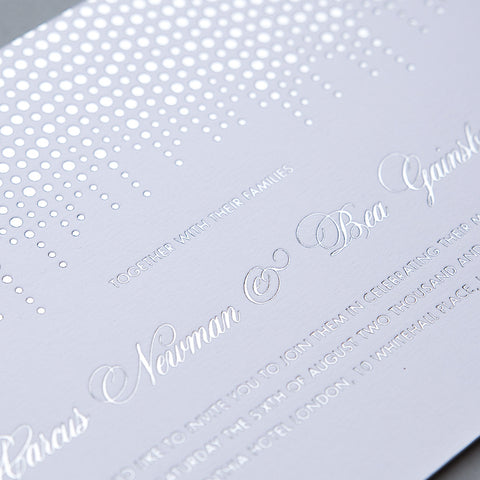 Corinthia Letterpress Invitation, Silver foil on White
