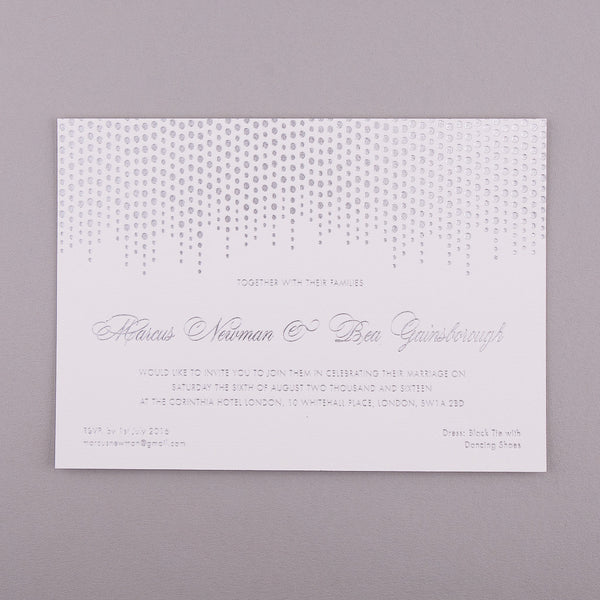 Sample - Corinthia Letterpress Invitation, Silver foil on White