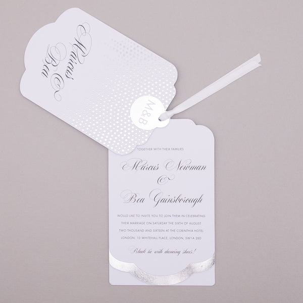 Sample - Corinthia Luxe Invitation in Silver foil on White