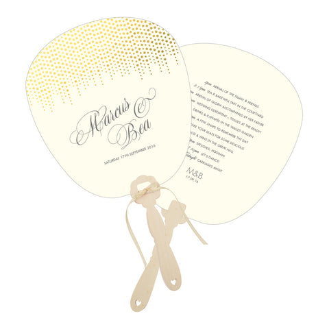 Corinthia Order of the Day Fan, Gold, Silver or Lilac foil