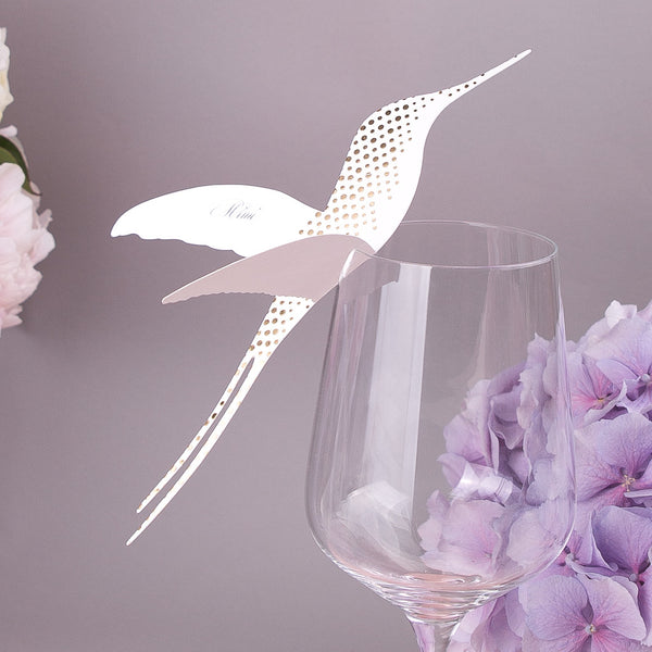 Sample - Corinthia Hummingbird Wine Glass Place Card in Gold/Ivory