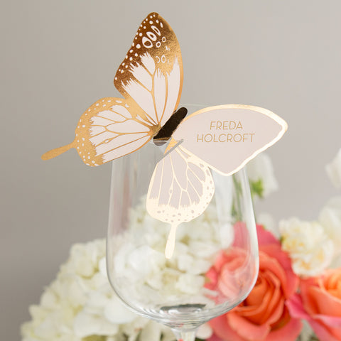 Sample - Metallic Butterfly Wine Glass Place Card in Gold/Blush