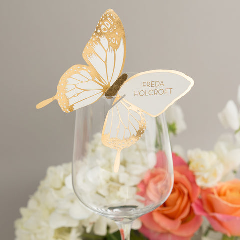 Sample - Metallic Butterfly Wine Glass Place Card in Gold/Ivory