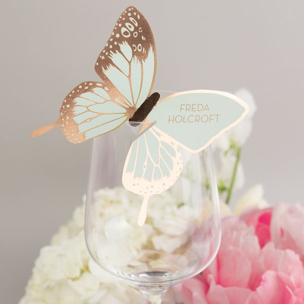 Metallic Butterfly Wine Glass Place Card, personalised