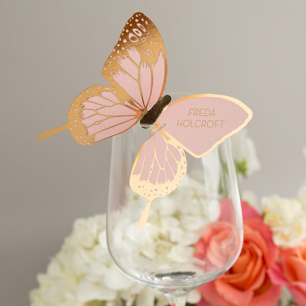 Sample - Metallic Butterfly Wine Glass Place Card in Gold/Rose