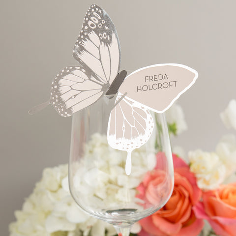Sample - Metallic Butterfly Wine Glass Place Card in Silver/Blush