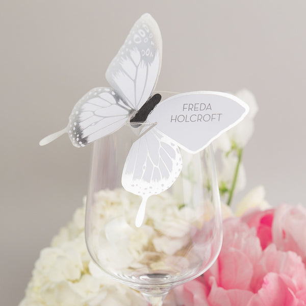 Sample - Metallic Butterfly Wine Glass Place Card in Silver/White
