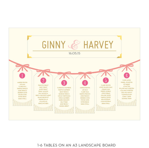 DECOdence Tag Table Plan, 5 colour options