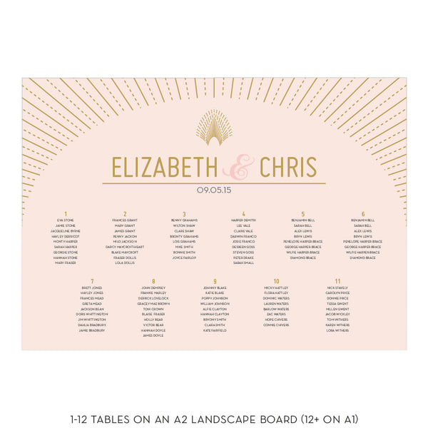 Set of DECOdence Classic Table Plan & Table numbers or names