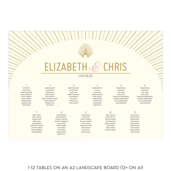 DECOdence Classic Table Plan, in 5 colour options