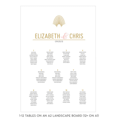 DECOdence Foil Classic Table Plan, in Gold, Rose Gold, or Silver foil