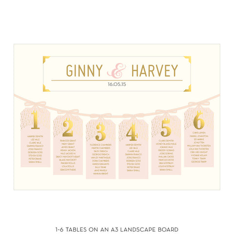 DECOdence Foil Tag Table Plan in Gold, Rose Gold & Silver