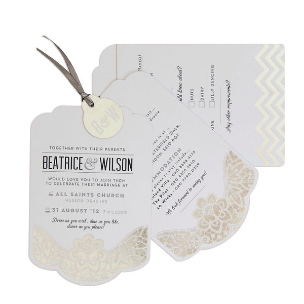 Sample - Modern Metallics Luxe Invitation in Silver foil on White