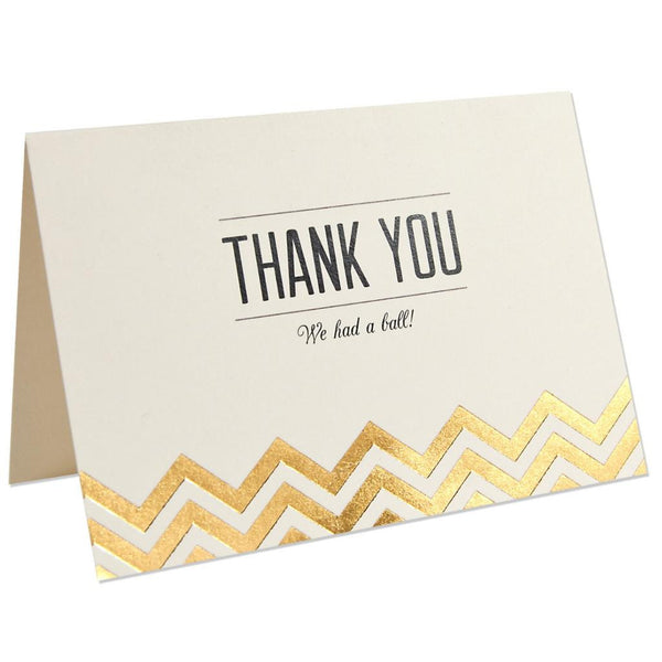 Thank You Note Modern Metallics Ivory & Gold