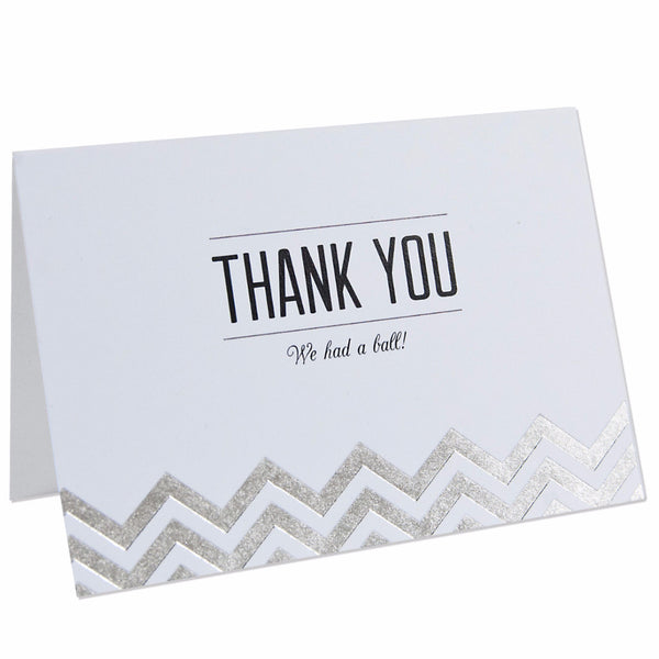 Modern Metallics Chevron Foiled - Thank You Cards