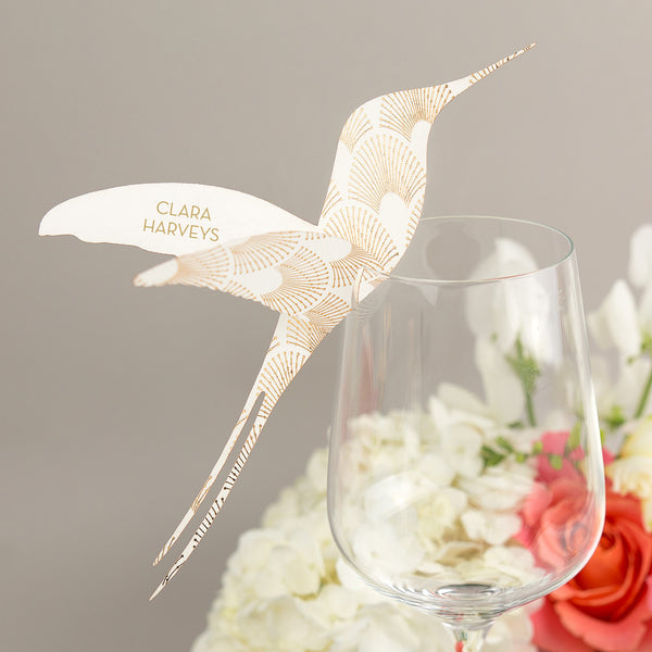 DECOdence Foil Hummingbird Wine Glass Place Cards, personalised