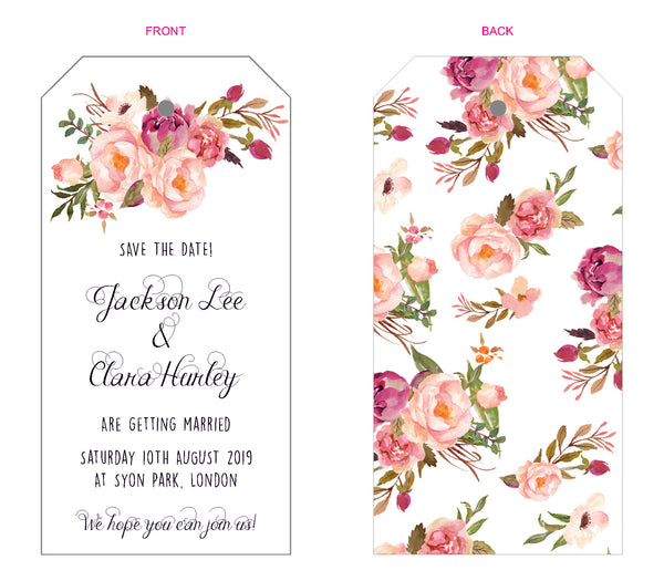 Floral Affair Luggage Tag Invitation/Save the Date, 5 colour options