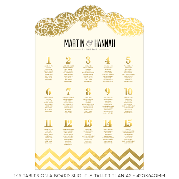 Modern Metallics Classic Table Plan, 4 foil colours