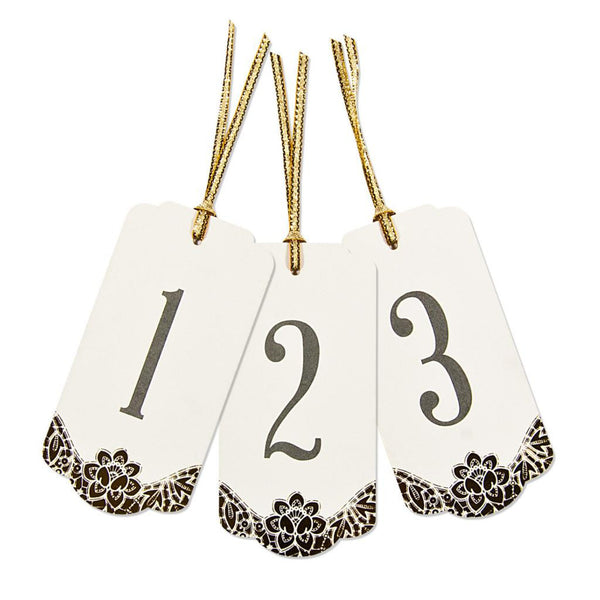 Tag Table Number Modern Metallics Ivory & Gold