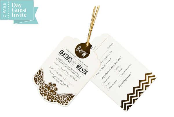 Modern Metallics Luxe Invitation suite in Gold foil on Ivory