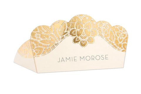 Modern Metallics Lace Foiled Classic Place Card, blank