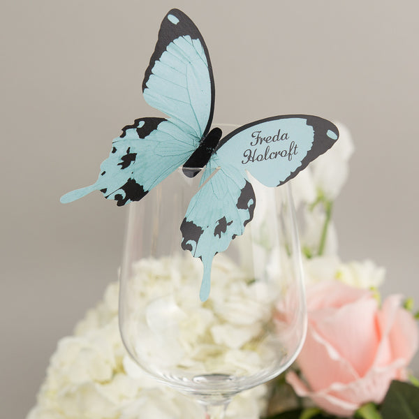 Butterfly Wine Glass Place Card, personalised