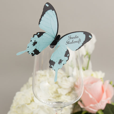 Sample - Butterfly Wine Glass Place Card in Aqua