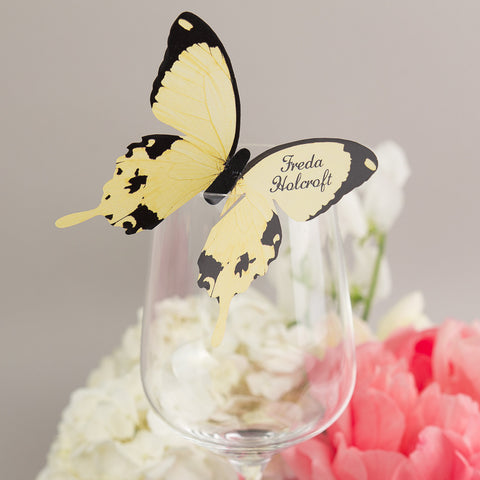 Sample - Butterfly Wine Glass Place Card in Lemon