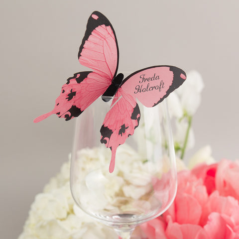 Sample - Butterfly Wine Glass Place Card in Peach