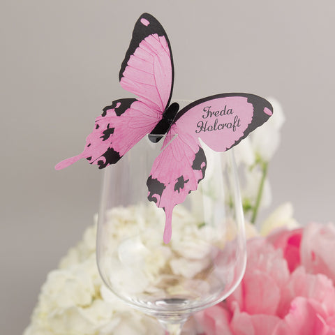 Sample - Butterfly Wine Glass Place Card in Pale Pink