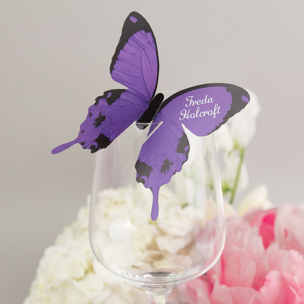 Sample - Butterfly Wine Glass Place Card in Purple